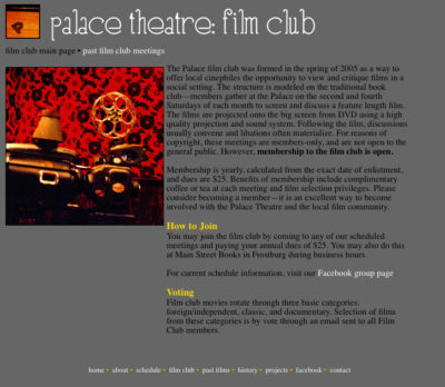 Website v1: Film Club| Palace Theatre