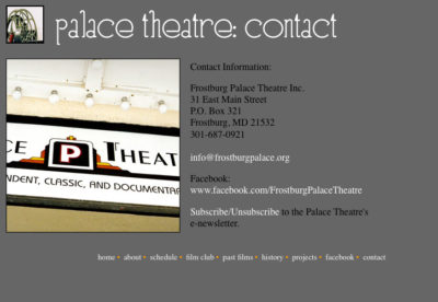 Website v1: Contact| Palace Theatre
