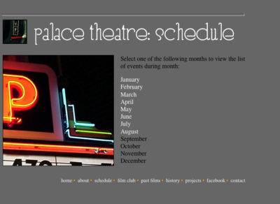 Website v1: Schedule| Palace Theatre